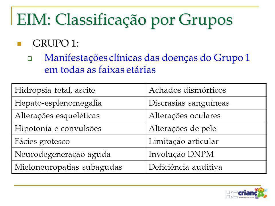 EIM: Classificação por Grupos  GRUPO 1:  Manifestações clínicas das doenças do Grupo 1 em todas as faixas etárias Hidropsia fetal, asciteAchados dis