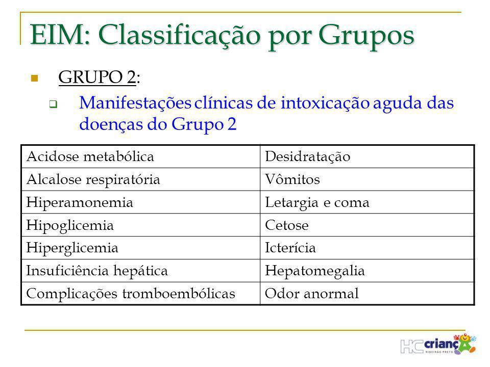 EIM: Classificação por Grupos  GRUPO 2:  Manifestações clínicas de intoxicação aguda das doenças do Grupo 2 Acidose metabólicaDesidratação Alcalose