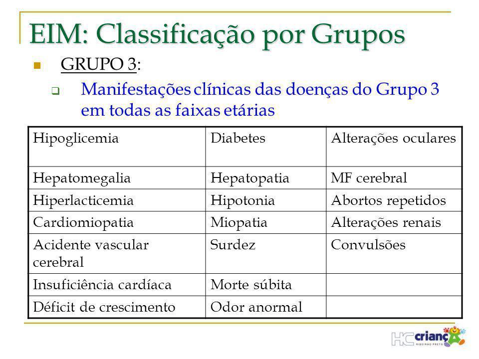 EIM: Classificação por Grupos  GRUPO 3:  Manifestações clínicas das doenças do Grupo 3 em todas as faixas etárias HipoglicemiaDiabetesAlterações ocu