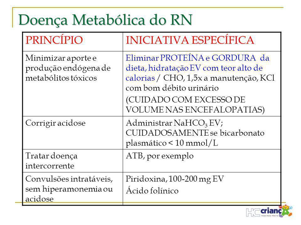 Doença Metabólica do RN PRINCÍPIOINICIATIVA ESPECÍFICA Minimizar aporte e produção endógena de metabólitos tóxicos Eliminar PROTEÍNA e GORDURA da diet