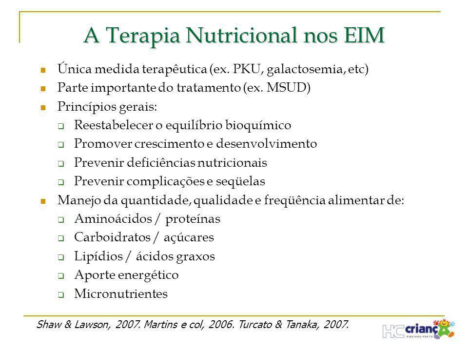 A Terapia Nutricional nos EIM  Única medida terapêutica (ex. PKU, galactosemia, etc)  Parte importante do tratamento (ex. MSUD)  Princípios gerais: