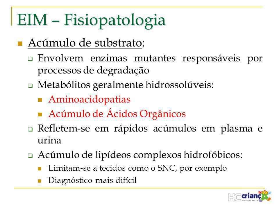 EIM – Fisiopatologia  Acúmulo de substrato:  Envolvem enzimas mutantes responsáveis por processos de degradação  Metabólitos geralmente hidrossolúv