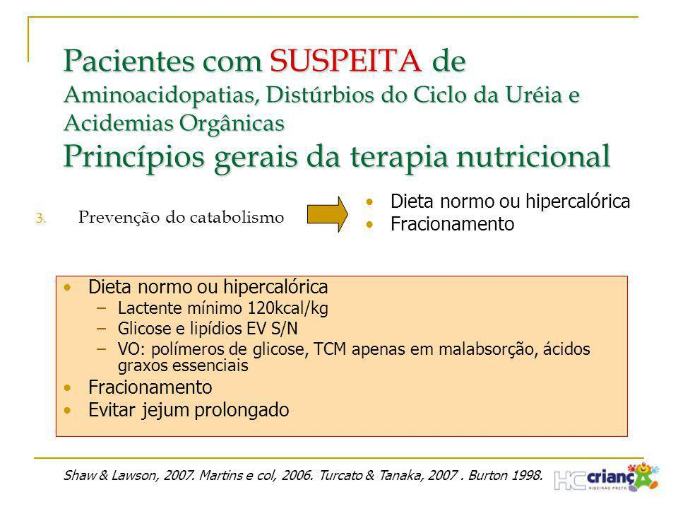Pacientes com SUSPEITA de Aminoacidopatias, Distúrbios do Ciclo da Uréia e Acidemias Orgânicas Princípios gerais da terapia nutricional 3. Prevenção d