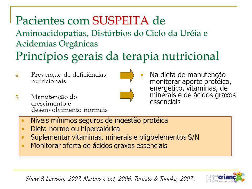 Pacientes com SUSPEITA de Aminoacidopatias, Distúrbios do Ciclo da Uréia e Acidemias Orgânicas Princípios gerais da terapia nutricional 4. Prevenção d
