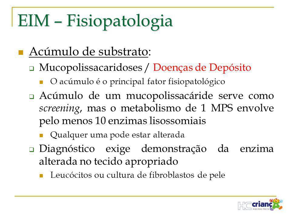 EIM – Fisiopatologia  Acúmulo de substrato:  Mucopolissacaridoses / Doenças de Depósito  O acúmulo é o principal fator fisiopatológico  Acúmulo de