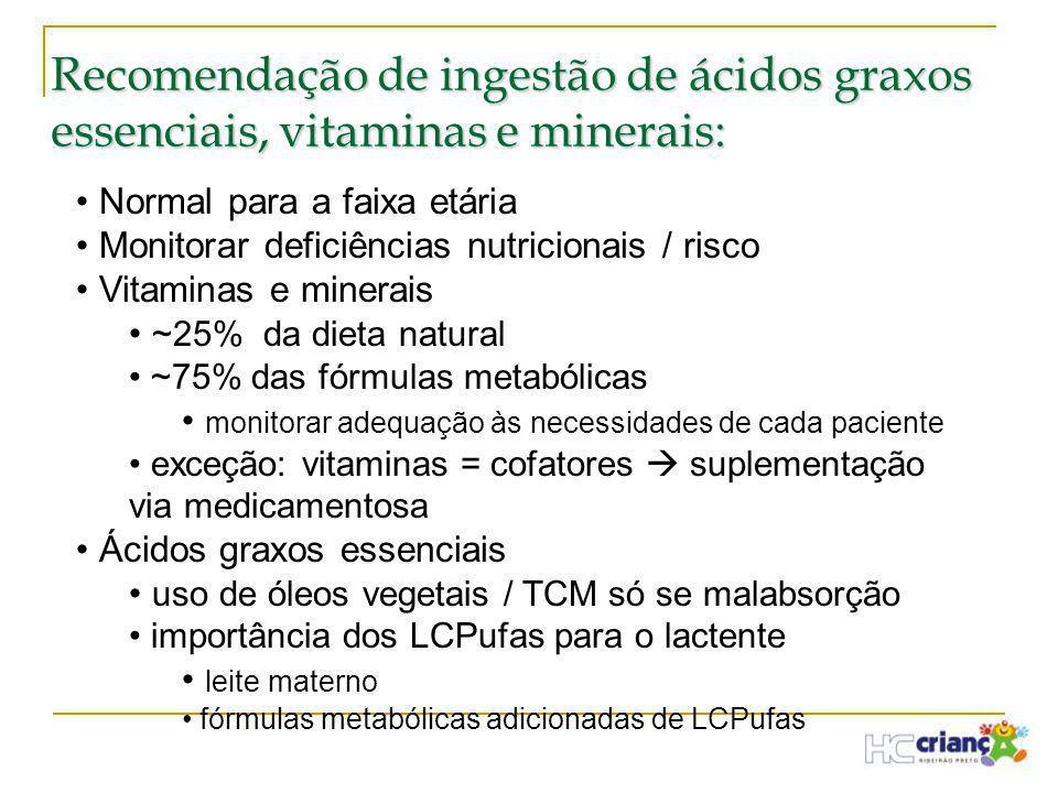 Recomendação de ingestão de ácidos graxos essenciais, vitaminas e minerais: • Normal para a faixa etária • Monitorar deficiências nutricionais / risco