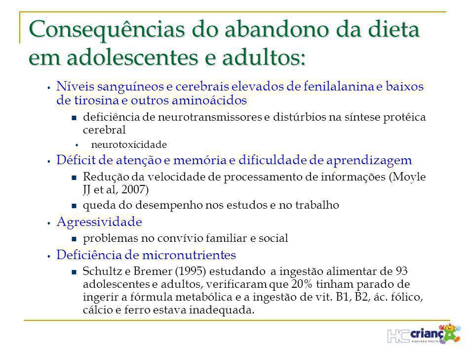 Consequências do abandono da dieta em adolescentes e adultos: • Níveis sanguíneos e cerebrais elevados de fenilalanina e baixos de tirosina e outros a