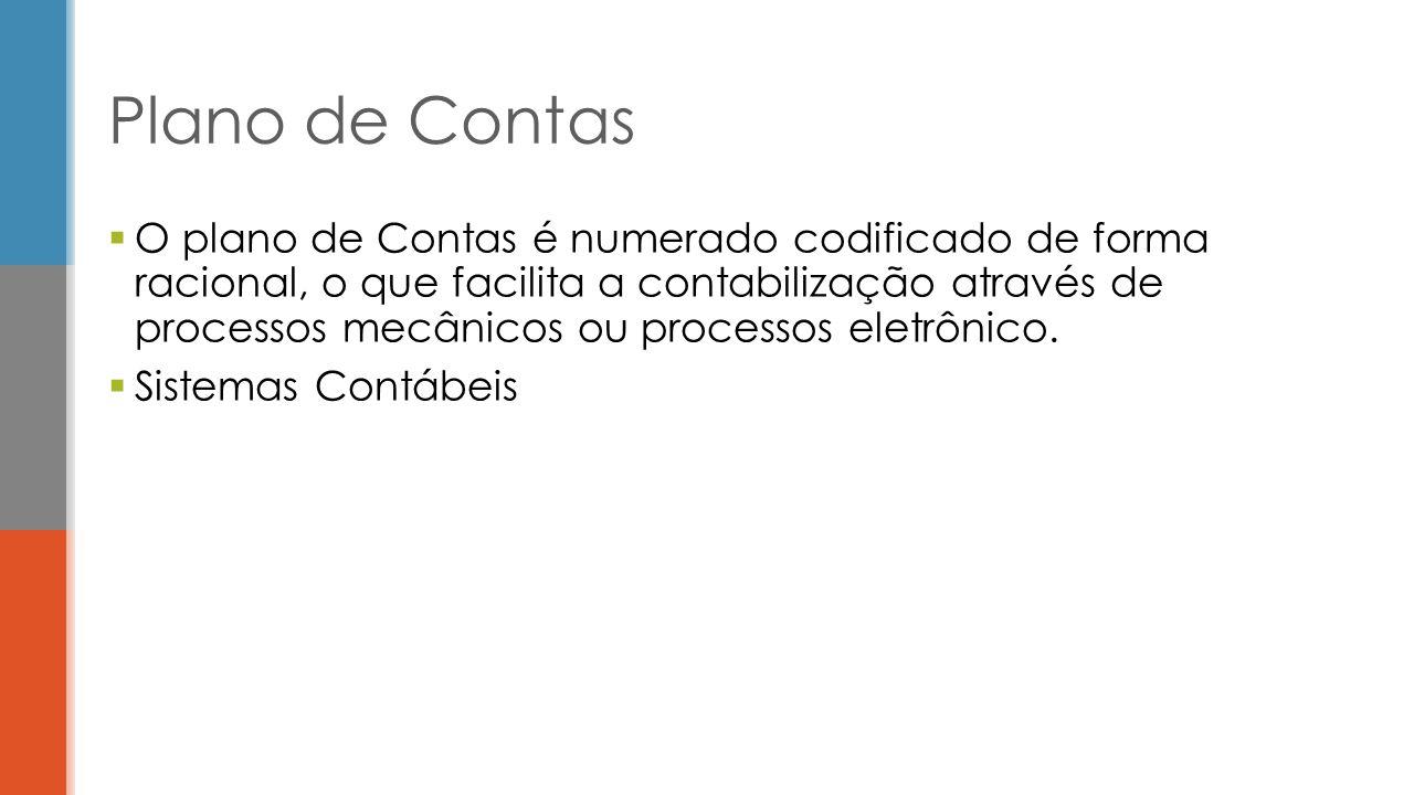  O plano de Contas é numerado codificado de forma racional, o que facilita a contabilização através de processos mecânicos ou processos eletrônico.