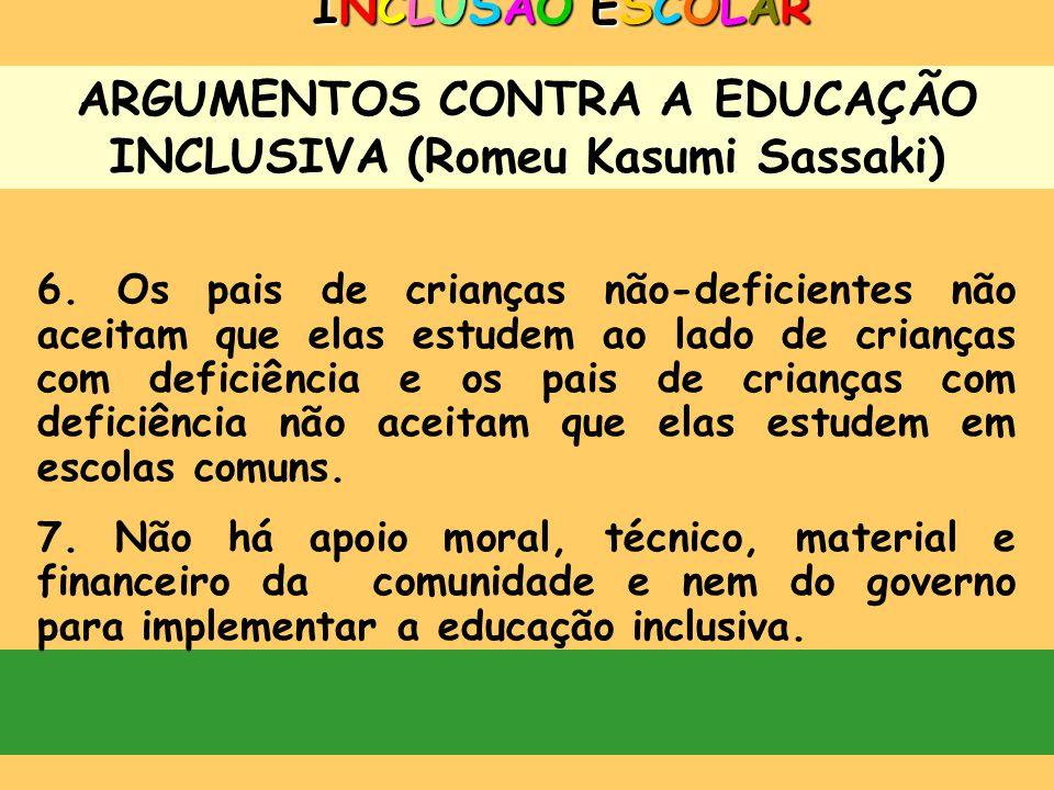 ARGUMENTOS CONTRA A EDUCAÇÃO INCLUSIVA (Romeu Kasumi Sassaki) INCLUSÃO ESCOLARINCLUSÃO ESCOLARINCLUSÃO ESCOLARINCLUSÃO ESCOLAR 3. Alunos tão diferente