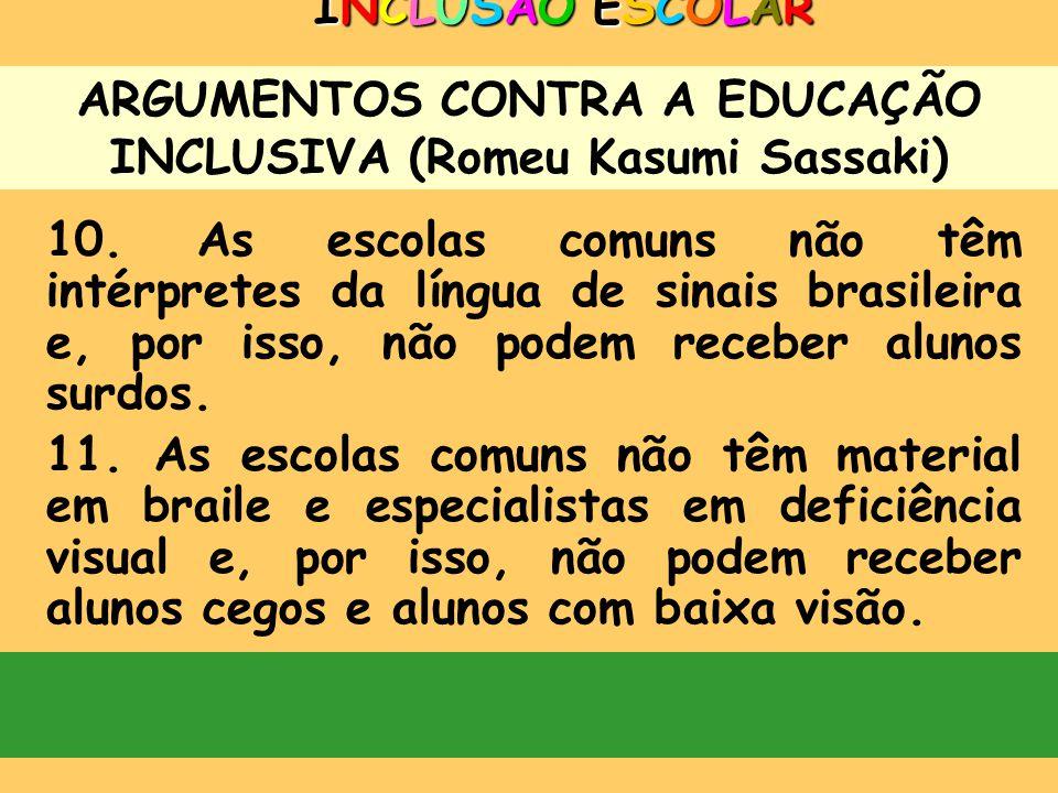 ARGUMENTOS CONTRA A EDUCAÇÃO INCLUSIVA (Romeu Kasumi Sassaki) INCLUSÃO ESCOLARINCLUSÃO ESCOLARINCLUSÃO ESCOLARINCLUSÃO ESCOLAR 8. É difícil, se não im