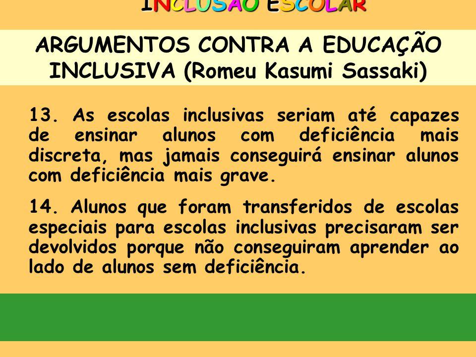 ARGUMENTOS CONTRA A EDUCAÇÃO INCLUSIVA (Romeu Kasumi Sassaki) INCLUSÃO ESCOLARINCLUSÃO ESCOLARINCLUSÃO ESCOLARINCLUSÃO ESCOLAR 12. É mais fácil ensina