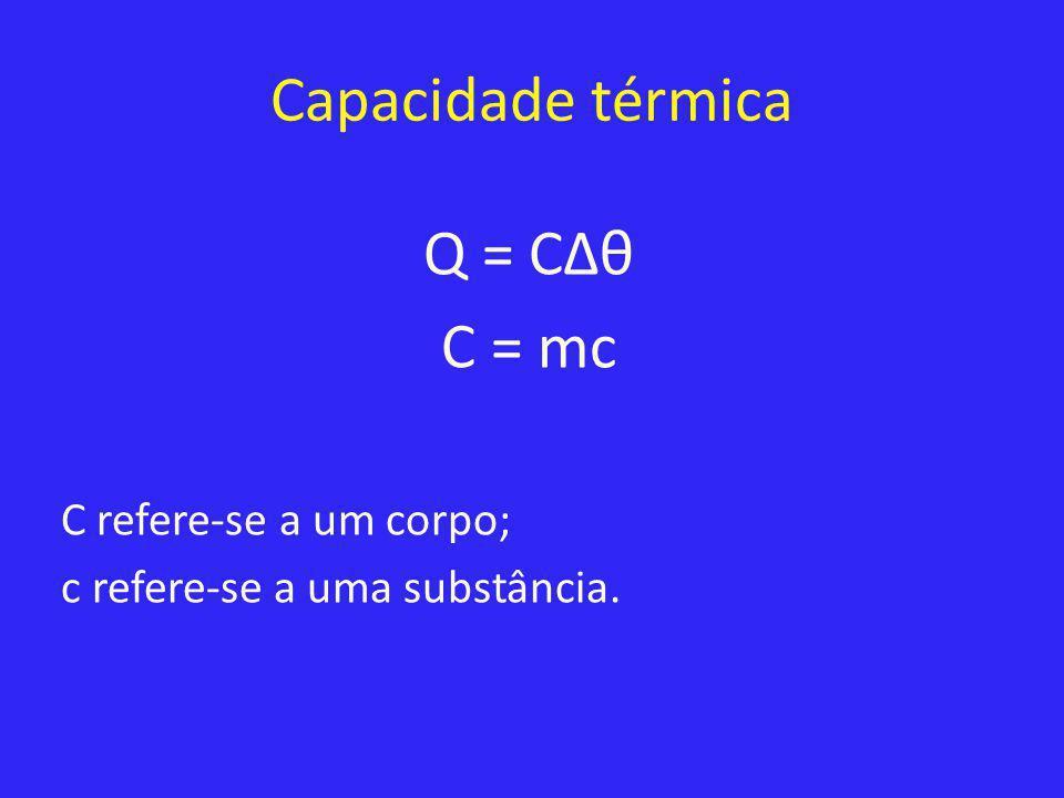 Capacidade térmica Q = CΔθ C = mc C refere-se a um corpo; c refere-se a uma substância.