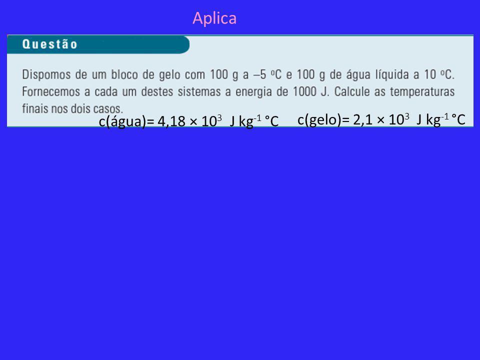 Aplica c(água)= 4,18 × 10 3 J kg -1 °C c(gelo)= 2,1 × 10 3 J kg -1 °C