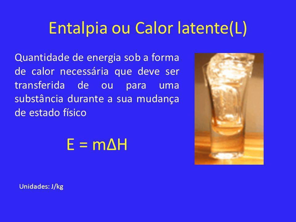 Entalpia ou Calor latente(L) Quantidade de energia sob a forma de calor necessária que deve ser transferida de ou para uma substância durante a sua mu