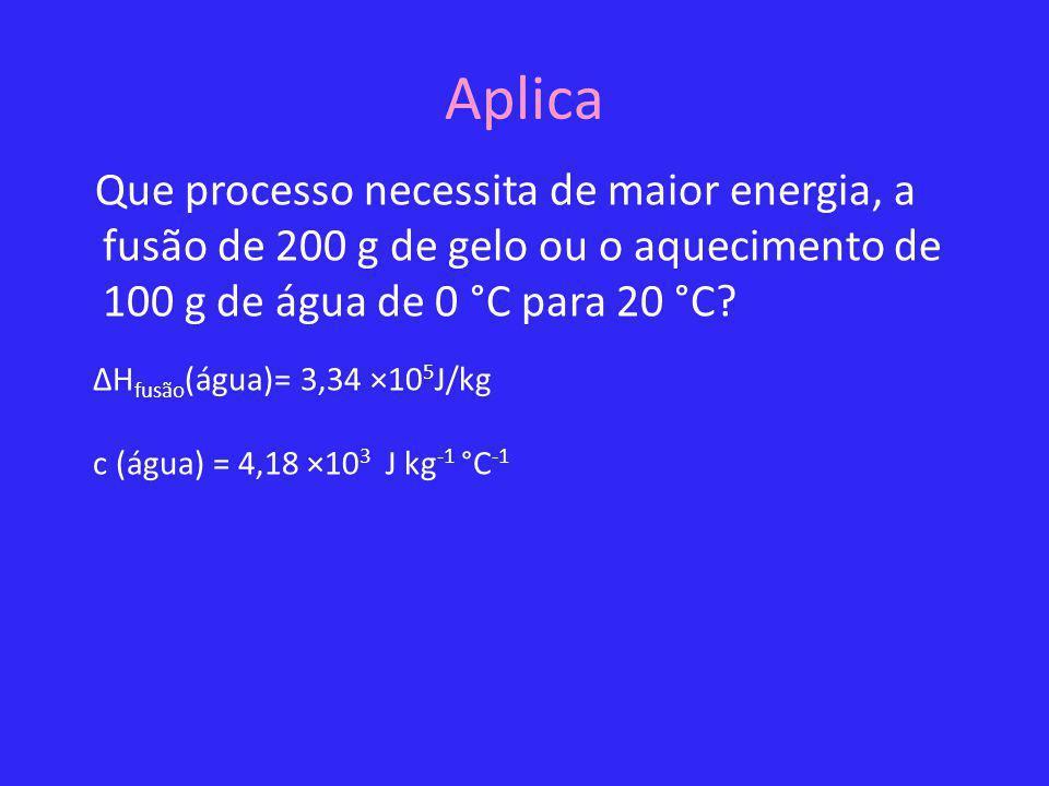 Aplica Que processo necessita de maior energia, a fusão de 200 g de gelo ou o aquecimento de 100 g de água de 0 °C para 20 °C? ΔH fusão (água)= 3,34 ×