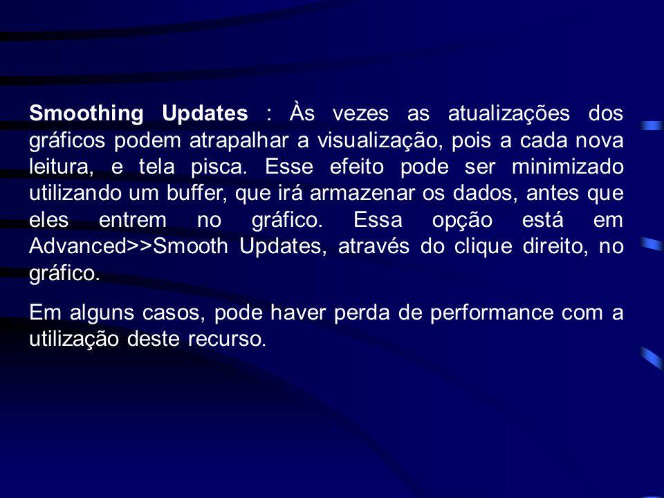 Smoothing Updates : Às vezes as atualizações dos gráficos podem atrapalhar a visualização, pois a cada nova leitura, e tela pisca.