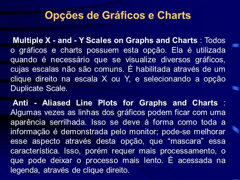 Charts e Graphs - Exemplos Teste os exemplos abaixo : •Exemplo 1 - Charts.vi •Exemplo 2 – Waveform Graph.vi •Exemplo 3 – Graph Temperature.vi •Exemplo 4 – Graph Waveform Arrays.vi •Exemplo 5 – Simple Digital Waveform Graph.vi