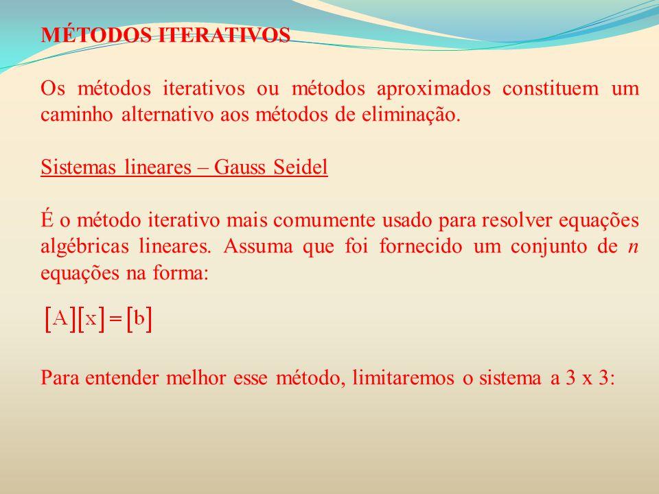 MÉTODOS ITERATIVOS Os métodos iterativos ou métodos aproximados constituem um caminho alternativo aos métodos de eliminação. Sistemas lineares – Gauss