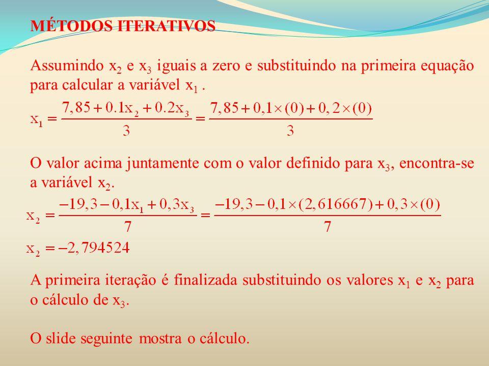 MÉTODOS ITERATIVOS Assumindo x 2 e x 3 iguais a zero e substituindo na primeira equação para calcular a variável x 1. O valor acima juntamente com o v