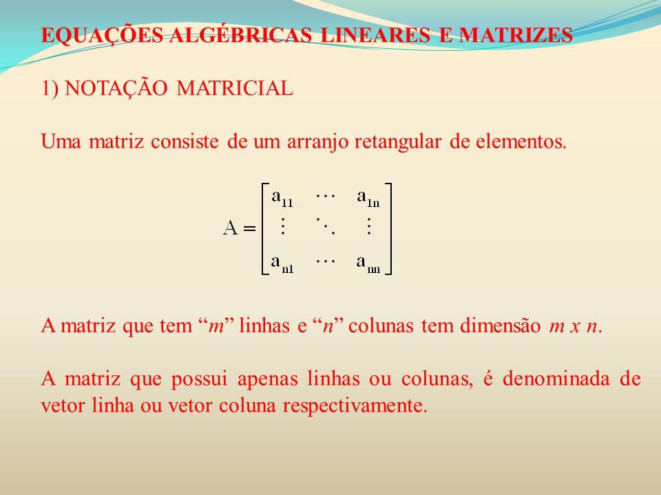 """EQUAÇÕES ALGÉBRICAS LINEARES E MATRIZES 1) NOTAÇÃO MATRICIAL Uma matriz consiste de um arranjo retangular de elementos. A matriz que tem """"m"""" linhas e"""