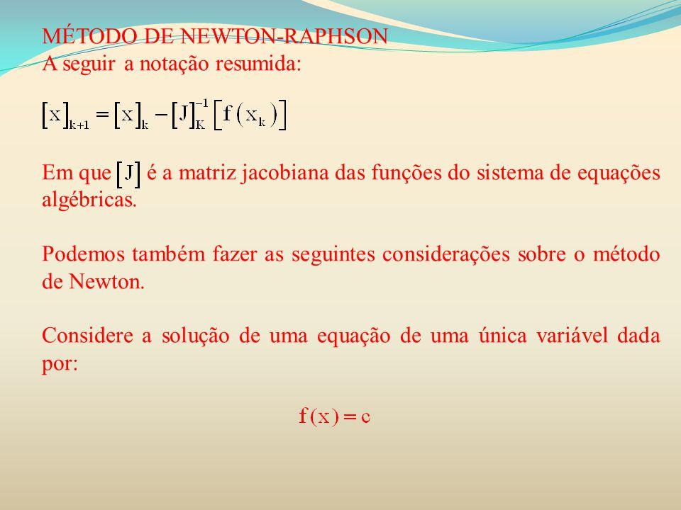 MÉTODO DE NEWTON-RAPHSON A seguir a notação resumida: Em que é a matriz jacobiana das funções do sistema de equações algébricas. Podemos também fazer