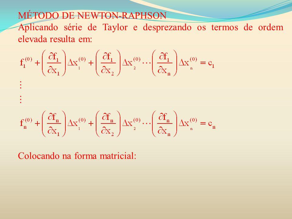 MÉTODO DE NEWTON-RAPHSON Aplicando série de Taylor e desprezando os termos de ordem elevada resulta em: Colocando na forma matricial: