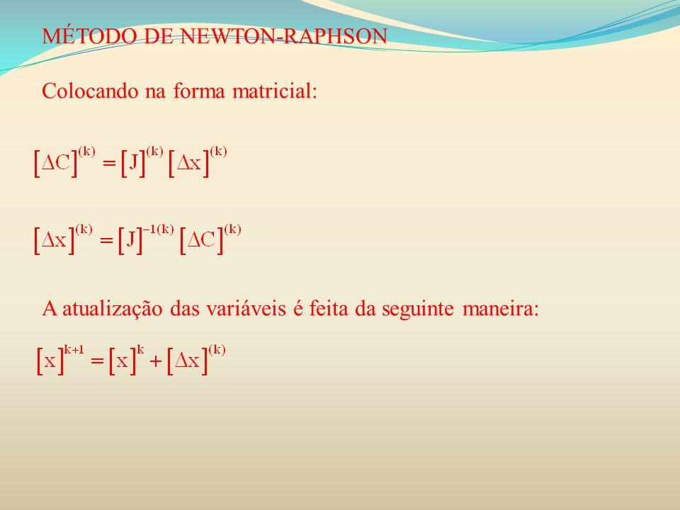 MÉTODO DE NEWTON-RAPHSON Colocando na forma matricial: A atualização das variáveis é feita da seguinte maneira: