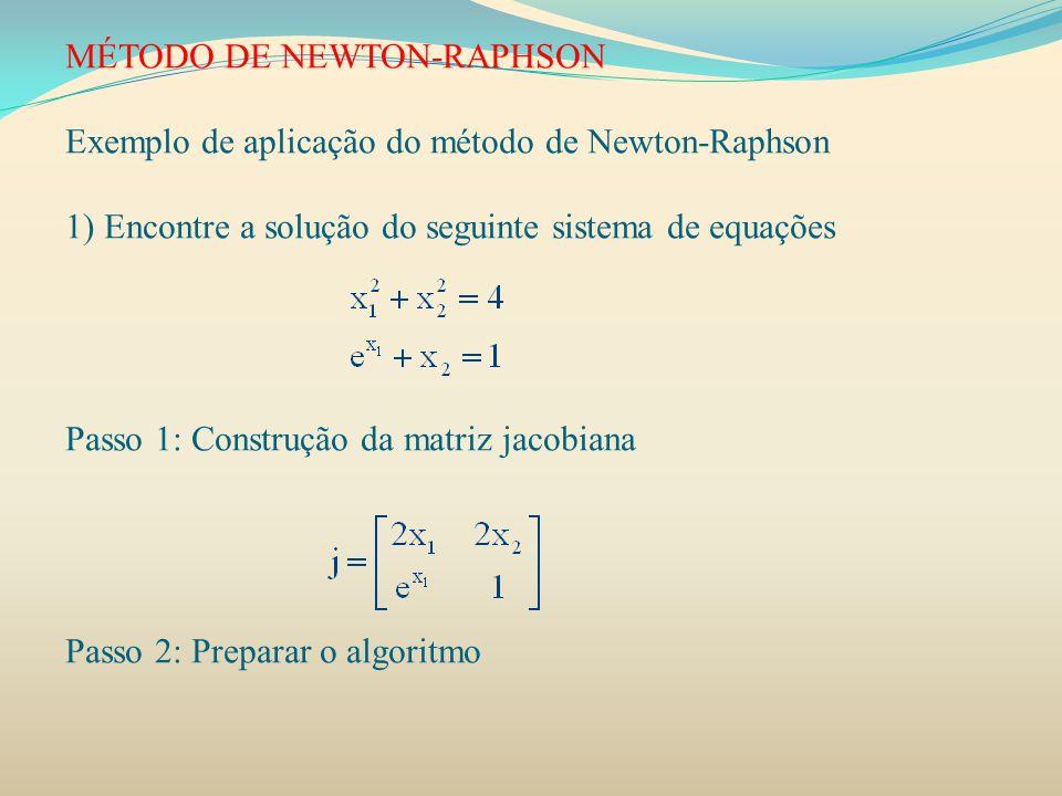 MÉTODO DE NEWTON-RAPHSON Exemplo de aplicação do método de Newton-Raphson 1) Encontre a solução do seguinte sistema de equações Passo 1: Construção da