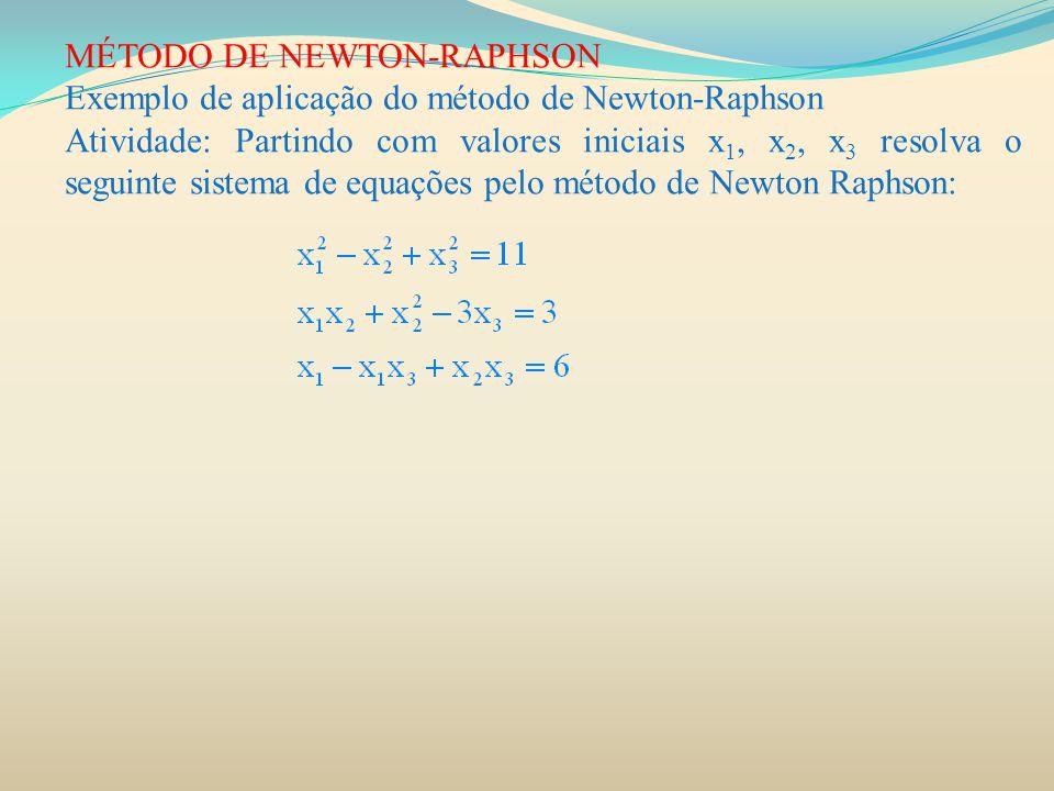 MÉTODO DE NEWTON-RAPHSON Exemplo de aplicação do método de Newton-Raphson Atividade: Partindo com valores iniciais x 1, x 2, x 3 resolva o seguinte si