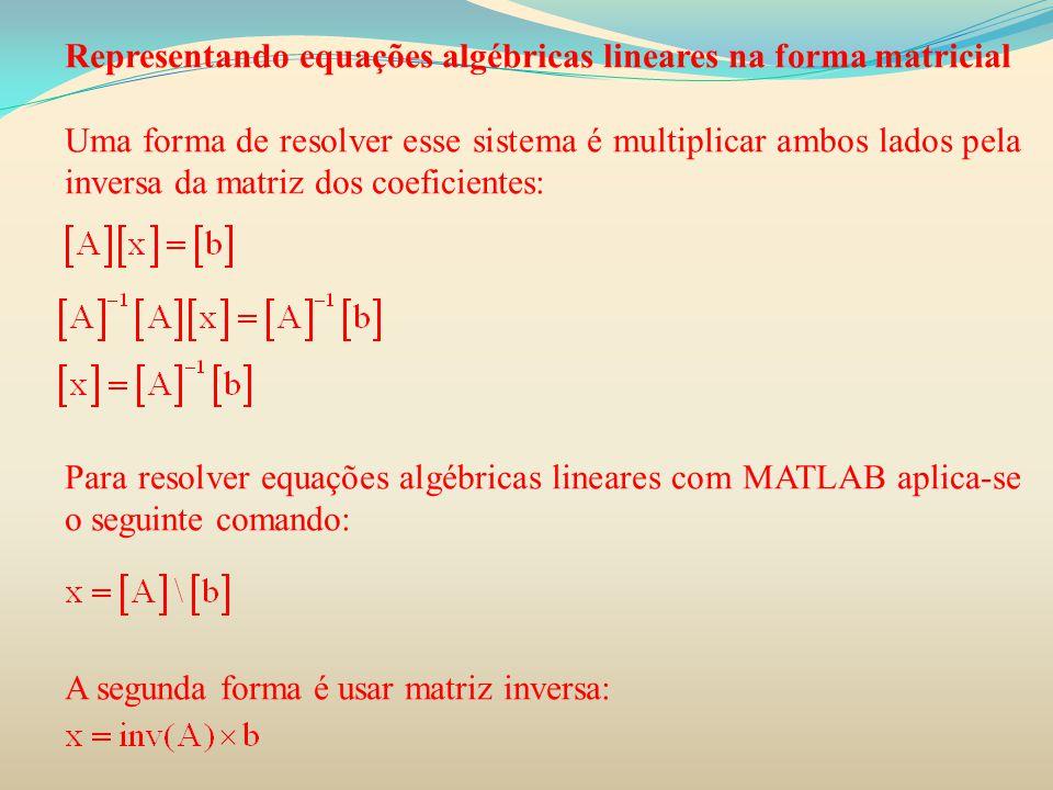 Representando equações algébricas lineares na forma matricial Uma forma de resolver esse sistema é multiplicar ambos lados pela inversa da matriz dos