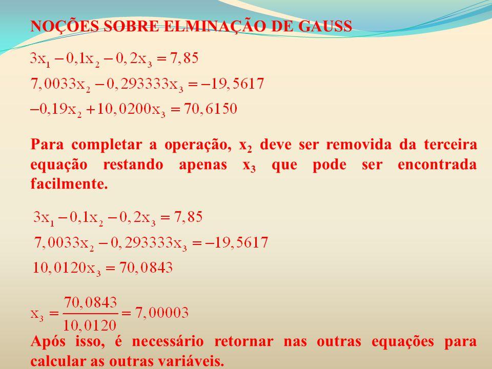 NOÇÕES SOBRE ELMINAÇÃO DE GAUSS Para completar a operação, x 2 deve ser removida da terceira equação restando apenas x 3 que pode ser encontrada facil