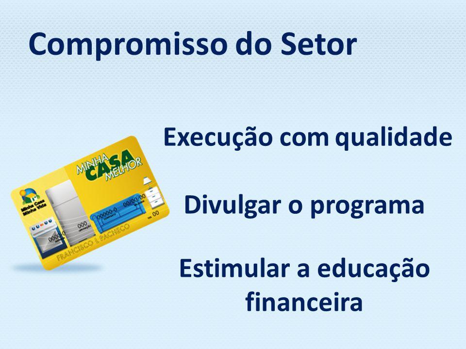 Compromisso do Setor Execução com qualidade Divulgar o programa Estimular a educação financeira