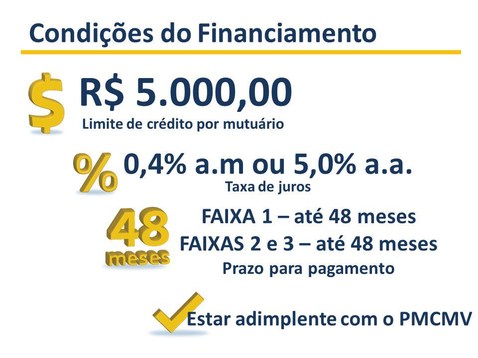 Condições do Financiamento Limite de crédito por mutuário R$ 5.000,00 FAIXA 1 – até 48 meses FAIXAS 2 e 3 – até 48 meses Prazo para pagamento 0,4% a.m