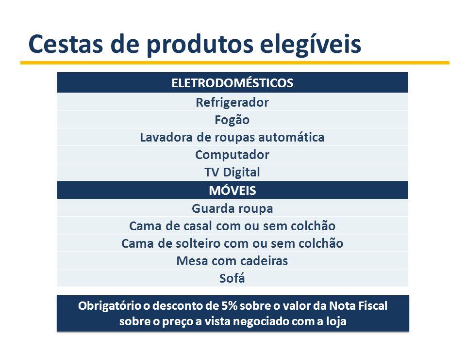 Cestas de produtos elegíveis ELETRODOMÉSTICOS Refrigerador Fogão Lavadora de roupas automática Computador TV Digital MÓVEIS Guarda roupa Cama de casal