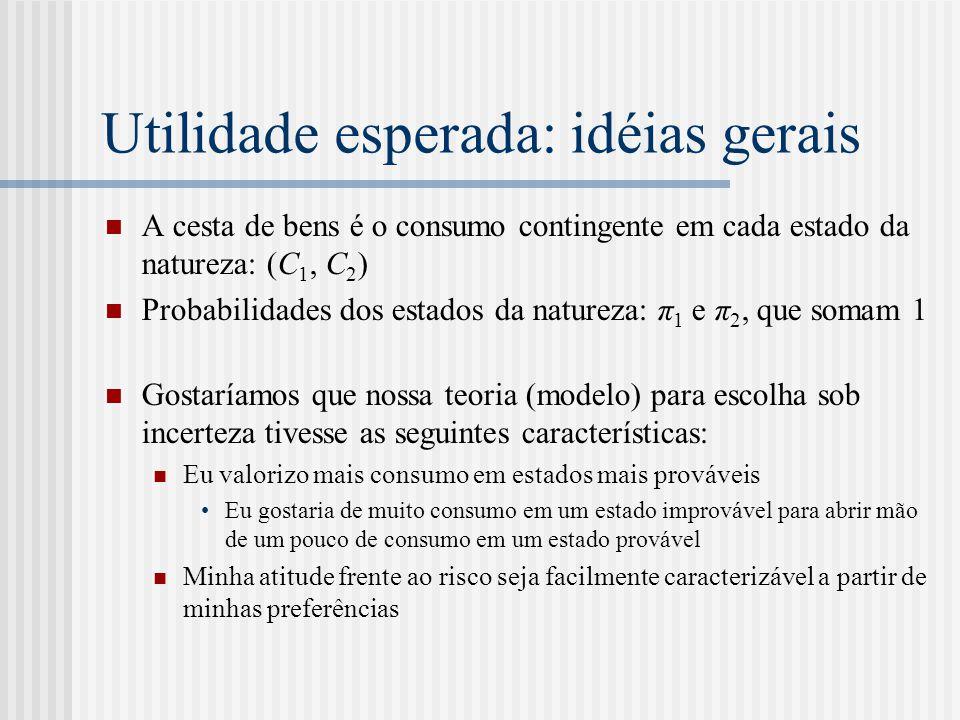 Utilidade esperada: idéias gerais  A cesta de bens é o consumo contingente em cada estado da natureza: (C 1, C 2 )  Probabilidades dos estados da na