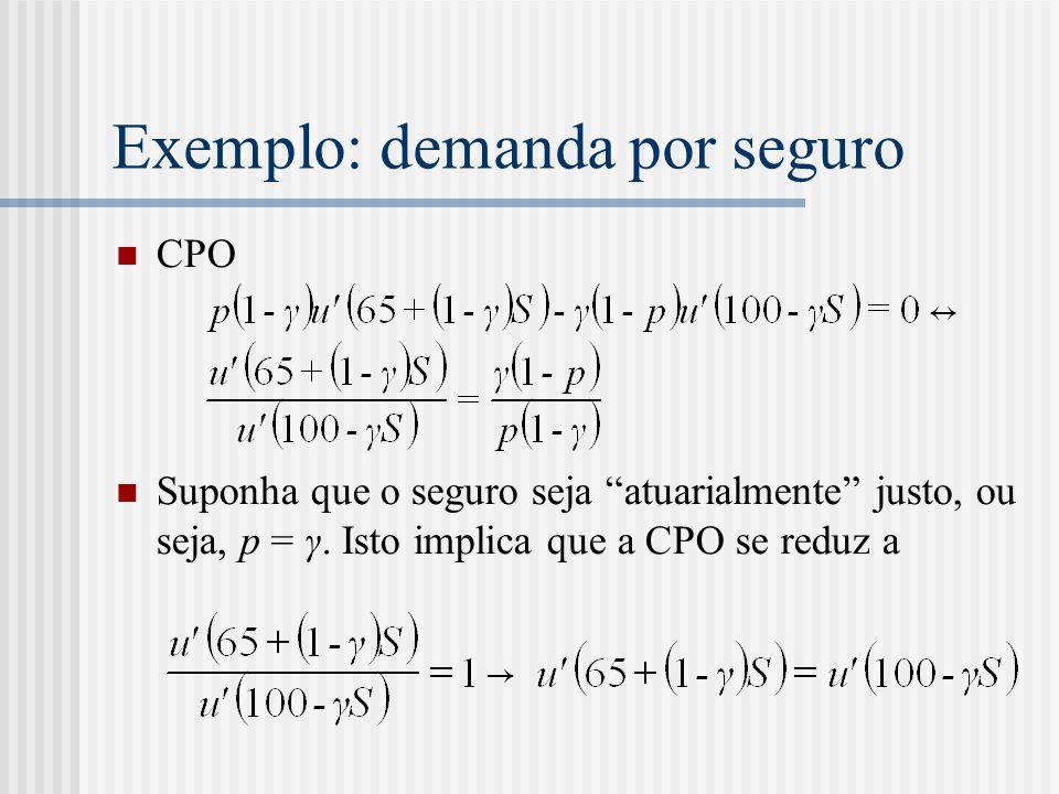 """Exemplo: demanda por seguro  CPO  Suponha que o seguro seja """"atuarialmente"""" justo, ou seja, p = γ. Isto implica que a CPO se reduz a"""