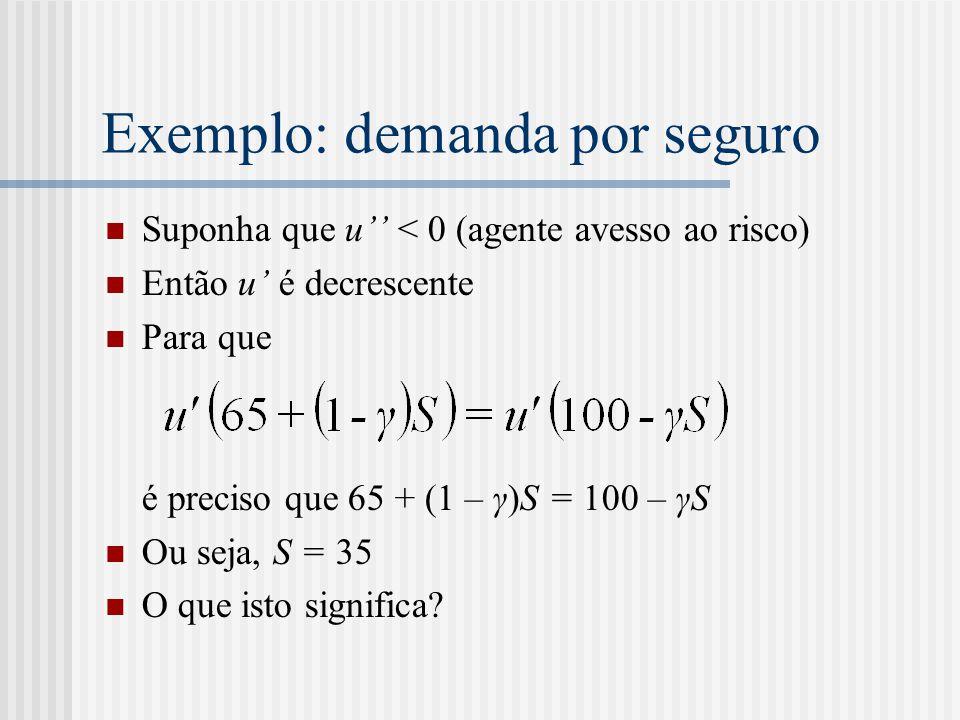 Exemplo: demanda por seguro  Suponha que u'' < 0 (agente avesso ao risco)  Então u' é decrescente  Para que é preciso que 65 + (1 – γ)S = 100 – γS