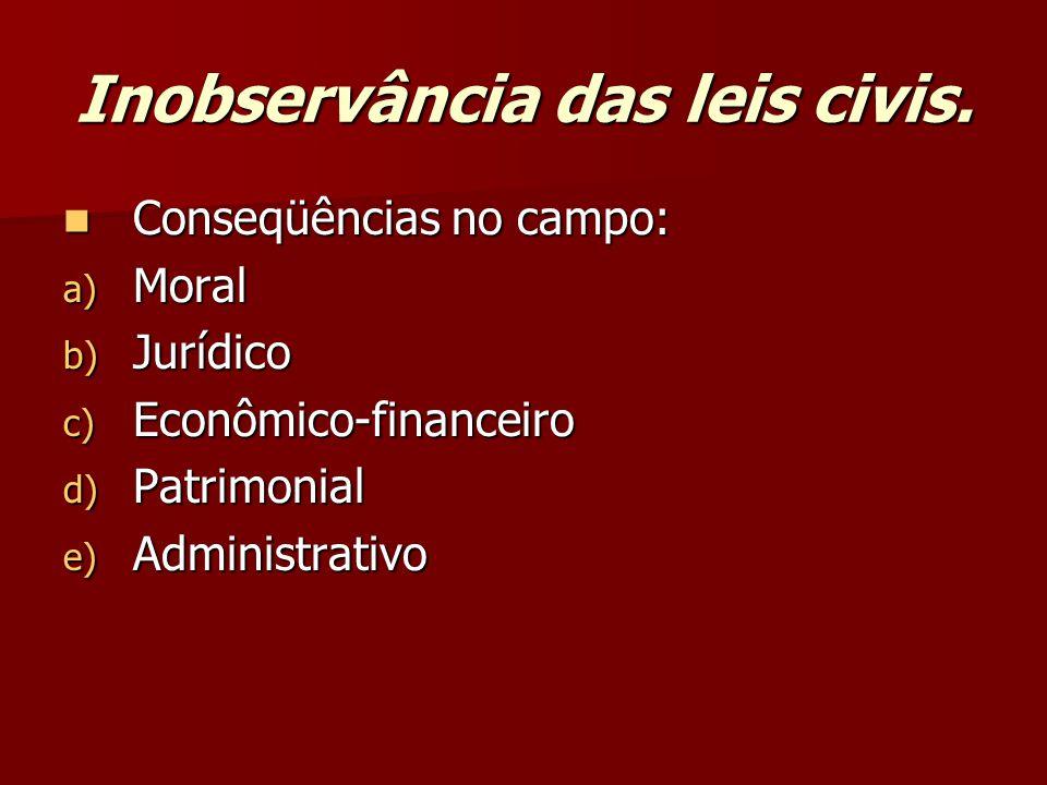 Inobservância das leis civis.  Conseqüências no campo: a) Moral b) Jurídico c) Econômico-financeiro d) Patrimonial e) Administrativo