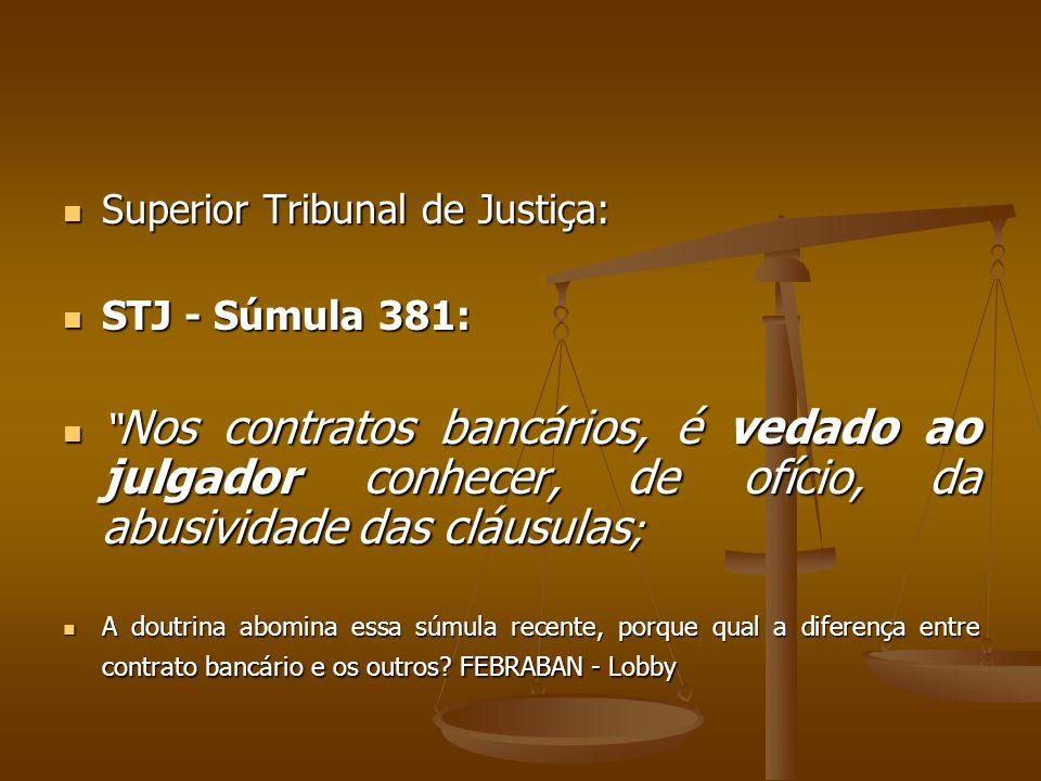""" Superior Tribunal de Justiça:  STJ - Súmula 381:  """" Nos contratos bancários, é vedado ao julgador conhecer, de ofício, da abusividade das cláusula"""
