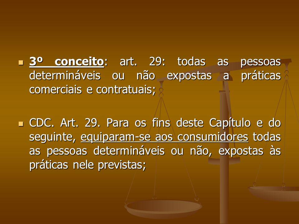  3º conceito: art. 29: todas as pessoas determináveis ou não expostas a práticas comerciais e contratuais;  CDC. Art. 29. Para os fins deste Capítul