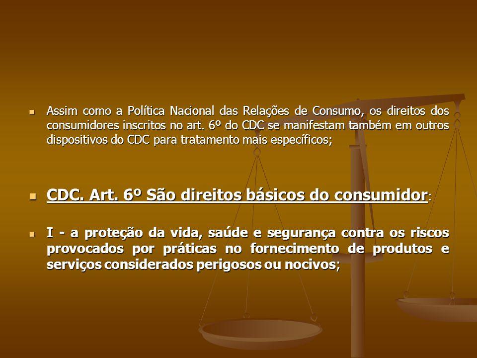  Assim como a Política Nacional das Relações de Consumo, os direitos dos consumidores inscritos no art. 6º do CDC se manifestam também em outros disp