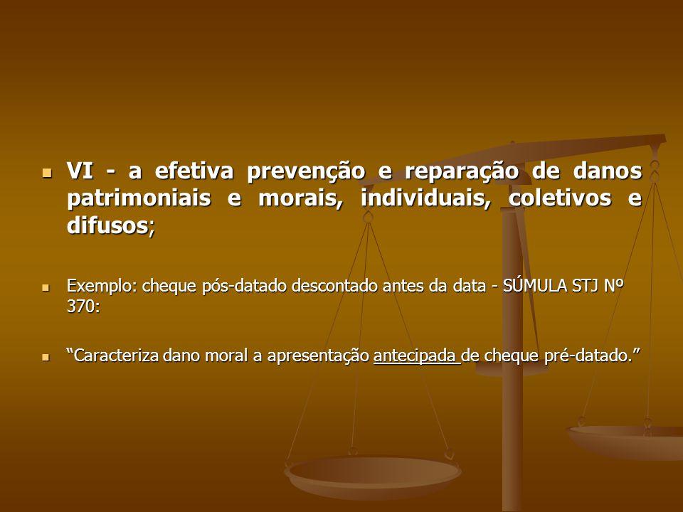  VI - a efetiva prevenção e reparação de danos patrimoniais e morais, individuais, coletivos e difusos;  Exemplo: cheque pós-datado descontado antes