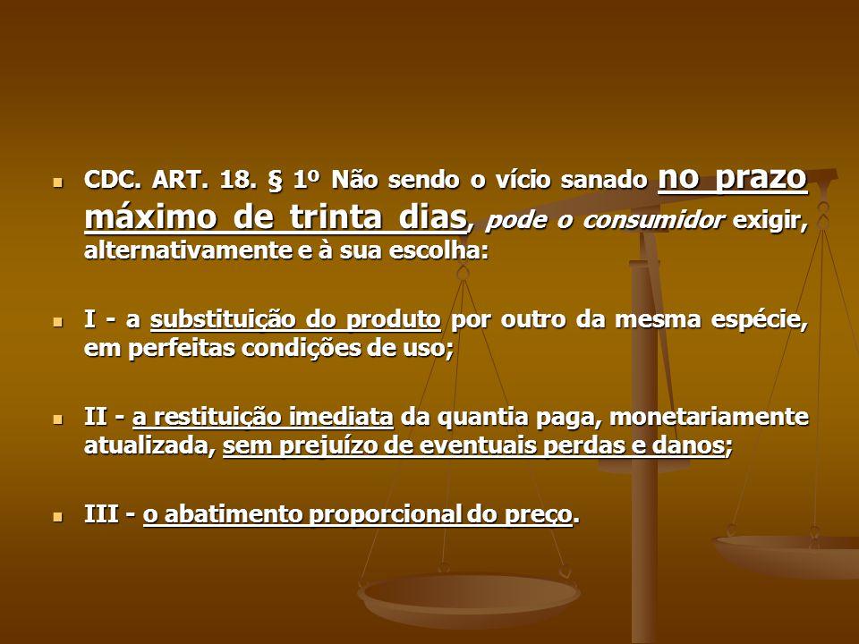  CDC. ART. 18. § 1º Não sendo o vício sanado no prazo máximo de trinta dias, pode o consumidor exigir, alternativamente e à sua escolha:  I - a subs