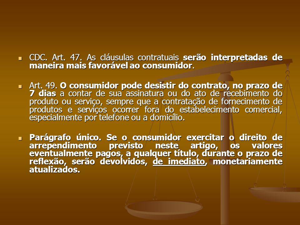  CDC. Art. 47. As cláusulas contratuais serão interpretadas de maneira mais favorável ao consumidor.  Art. 49. O consumidor pode desistir do contrat