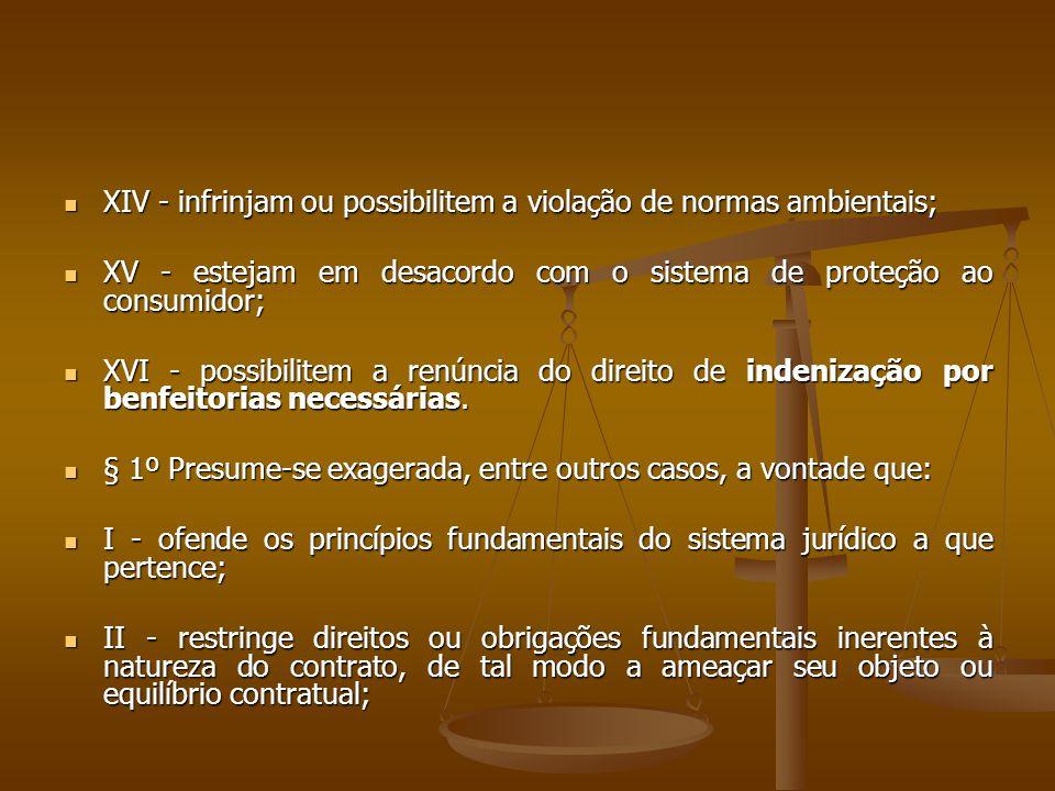  XIV - infrinjam ou possibilitem a violação de normas ambientais;  XV - estejam em desacordo com o sistema de proteção ao consumidor;  XVI - possib