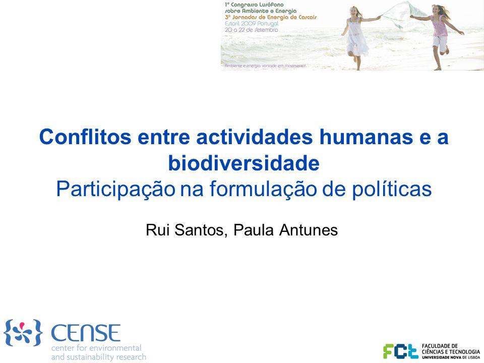 Conflitos entre actividades humanas e a biodiversidade Participação na formulação de políticas Rui Santos, Paula Antunes