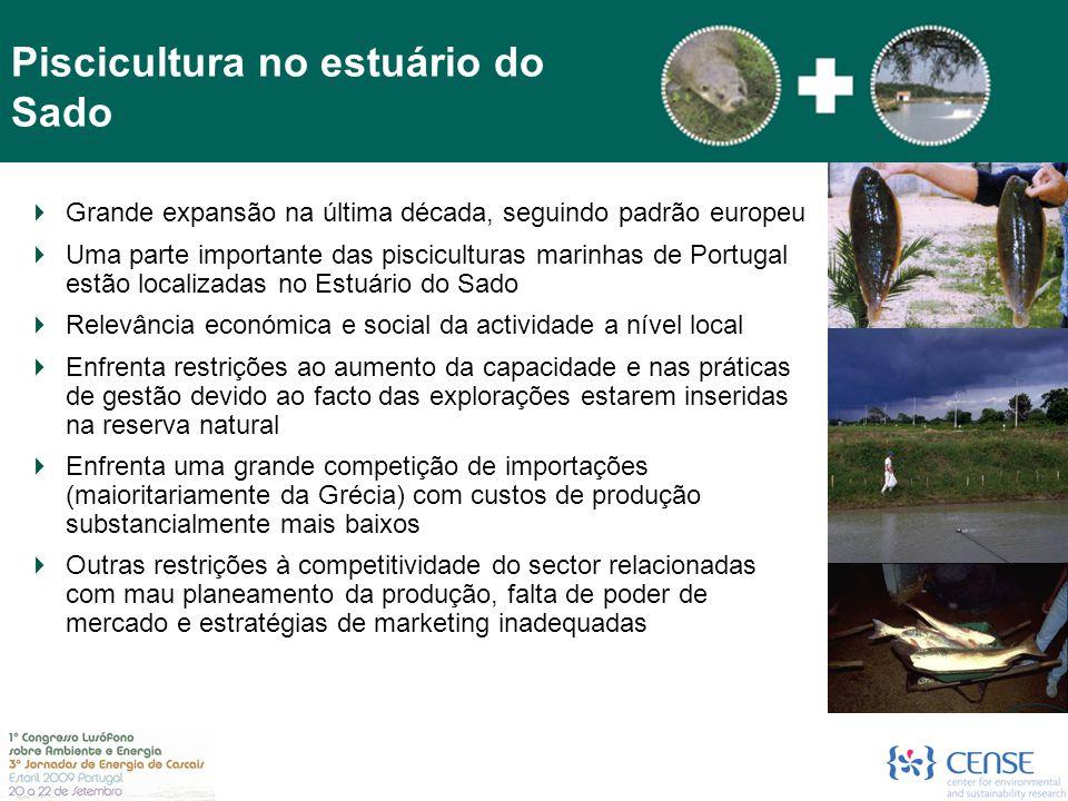  Grande expansão na última década, seguindo padrão europeu  Uma parte importante das pisciculturas marinhas de Portugal estão localizadas no Estuári