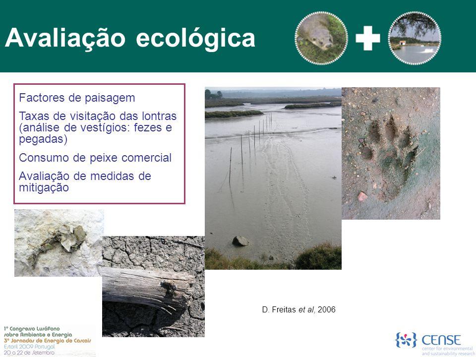 Avaliação ecológica Factores de paisagem Taxas de visitação das lontras (análise de vestígios: fezes e pegadas) Consumo de peixe comercial Avaliação d