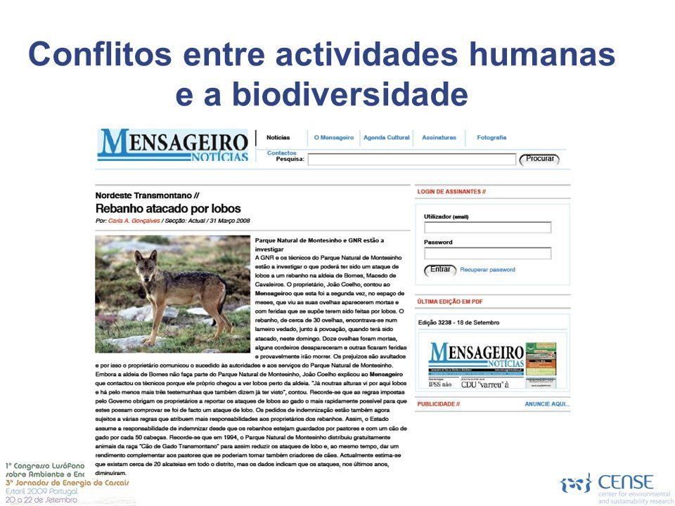 Environmental Policy Instruments Abordagens  Extermínio da vida selvagem  Protecção da biodiversidade  Reconciliação de conflitos e co-habitação Conflitos entre actividades humanas e a biodiversidade