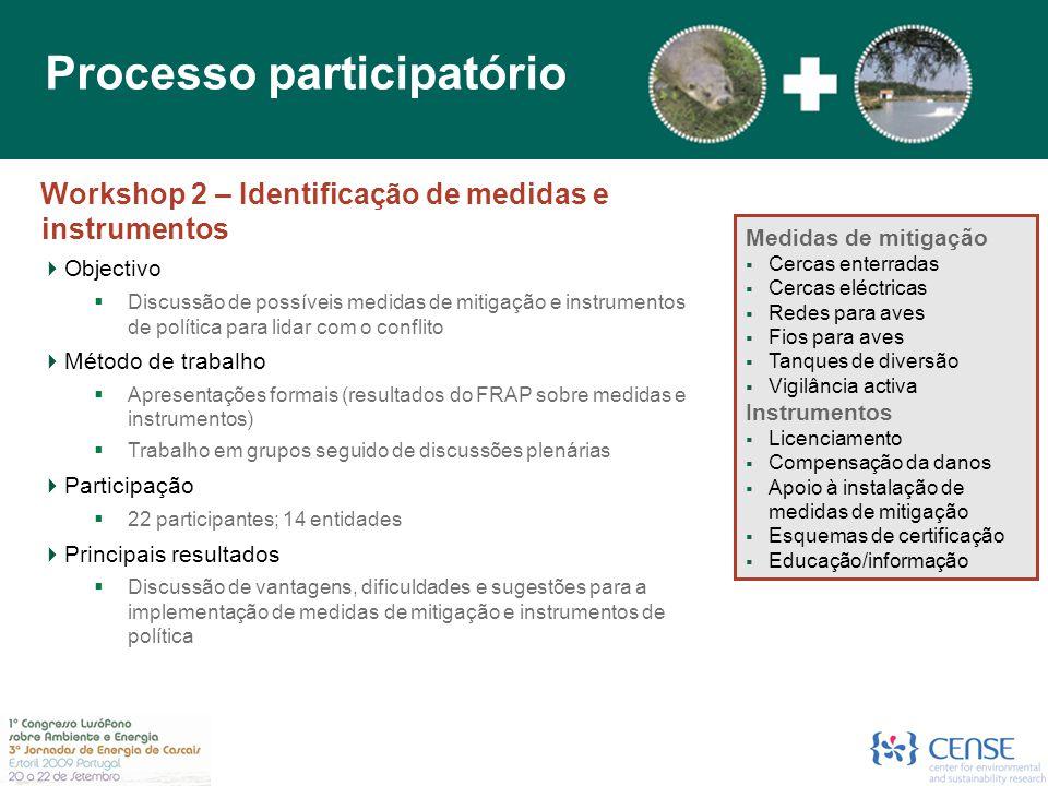 Workshop 2 – Identificação de medidas e instrumentos  Objectivo  Discussão de possíveis medidas de mitigação e instrumentos de política para lidar c